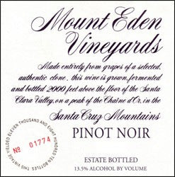 Mount Eden 'Estate Bottled' Santa Cruz Mountains Pinot Noir 2012
