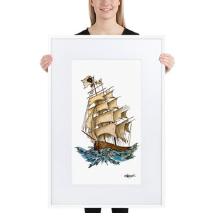 Pirate Ship Framed Poster With Mat