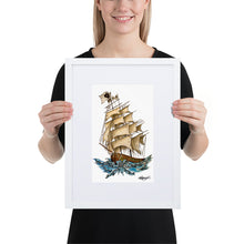Load image into Gallery viewer, Pirate Ship Framed Poster With Mat
