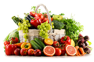 Basket of Nutritious Fruits and Vegetables