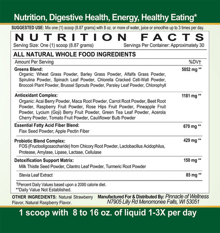 Ultimate Organic Green Superfood Powder Nutrition Facts