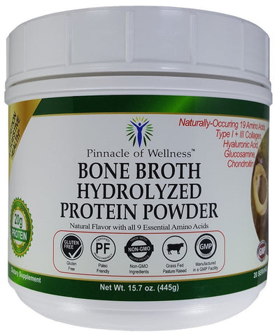 Bone Broth Hydrolyzed Protein Powder - Natural Flavor - 20 Servings 15.7oz (445g) FREE SHIPPING