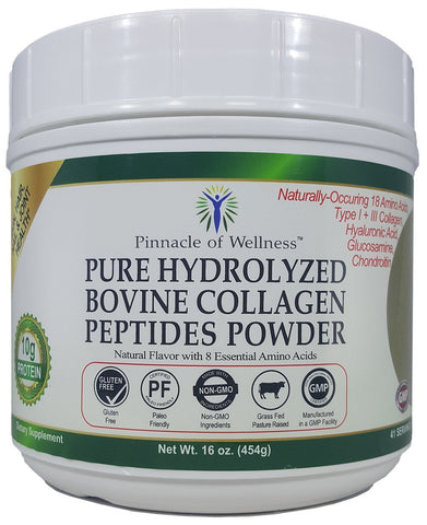Pure Hydrolyzed Bovine Collagen Peptides Powder - Natural Flavor - 41 Servings 16.0oz (454g)