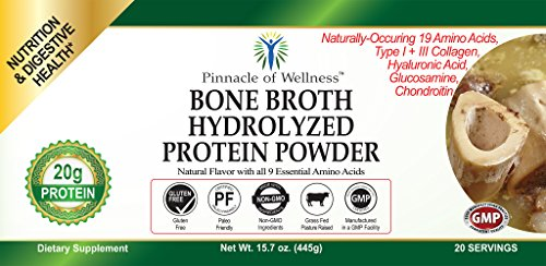 Bone Broth Hydrolyzed Protein Powder - Natural Flavor - 20 Servings 15.7oz (445g)