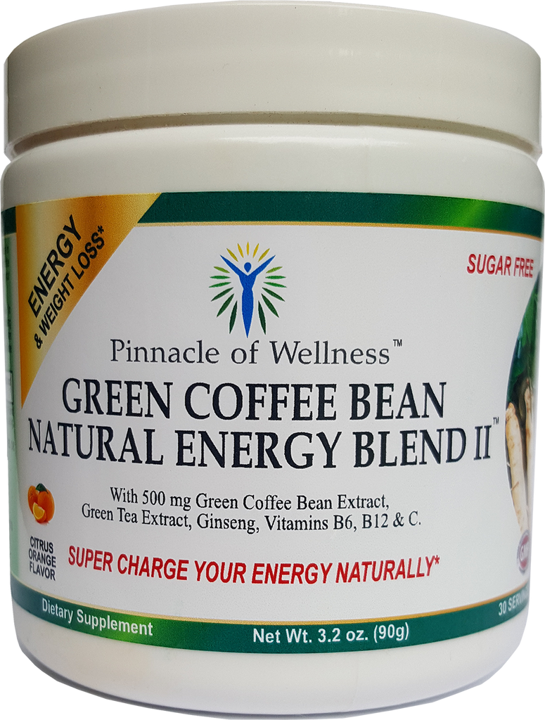 Green Coffee Bean Natural Energy Blend II Powder – Citrus Orange Flavor – 30 Servings – 3.2oz (90g) - Sugar Free Drink Mix – No Artificial Flavors or Colors