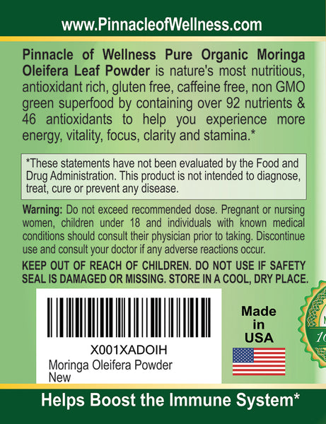 Pure Organic Moringa Oleifera Leaf Powder – 180 Capsules – 90 Servings