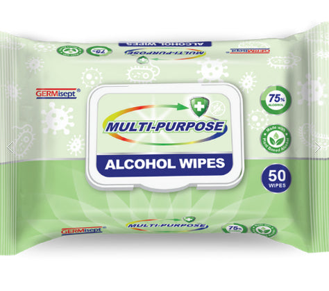 Multi-Purpose 75% Alcohol Sanitizing Wipes (50 Wipe Pack)