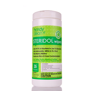 Handy Clean Hospital Grade Steridol Disinfectant Wipes - 35 Wipes Per Container -