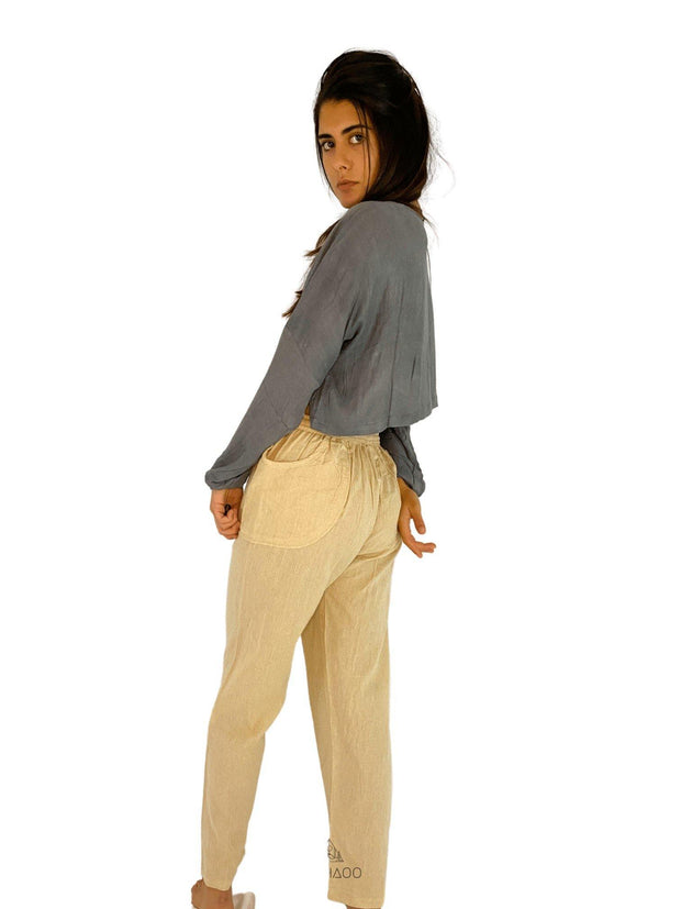 Pushaoo Grey Bamboo Top Hemp  Sustainable Clothes