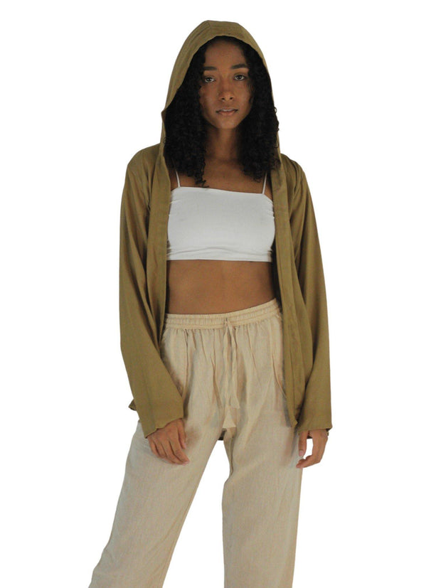 Pushaoo hoodie Beige Bamboo Hoodie Hemp  Sustainable Clothes