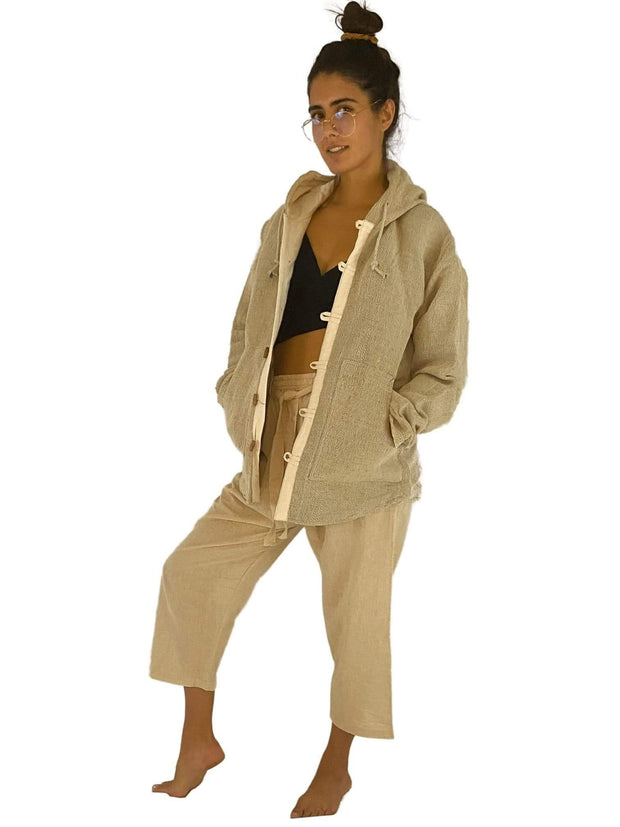 Pushaoo jacket Unisex Hemp Jacket Hemp  Sustainable Clothes