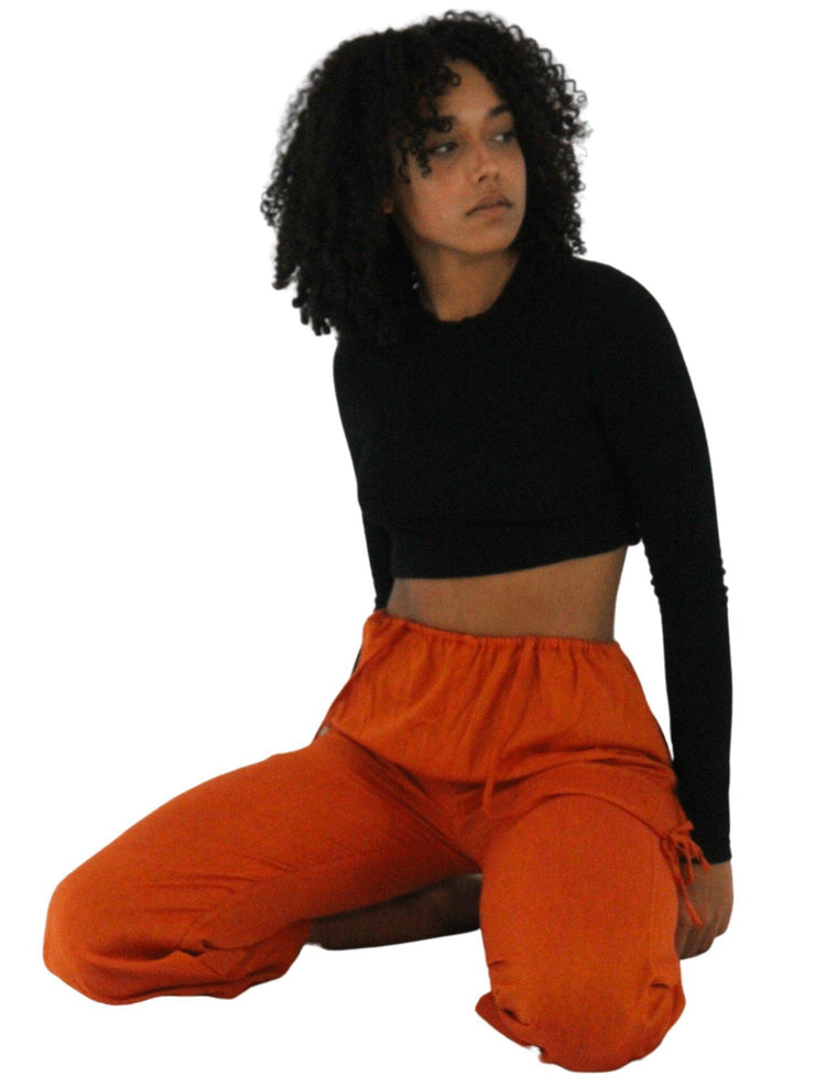 Pushaoo pants Orange Hemp Pants with Straps Hemp  Sustainable Clothes