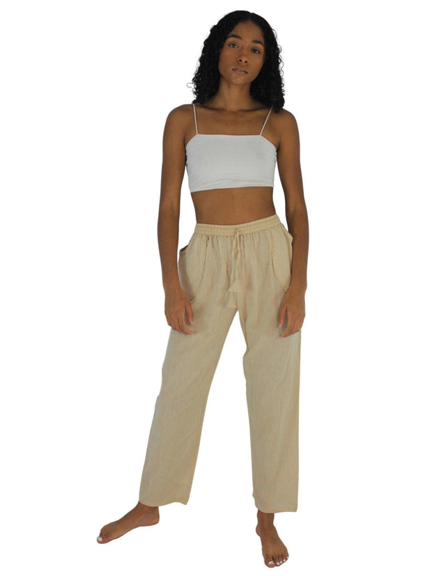 Pushaoo pants Unisex Beige Hemp Pants Hemp  Sustainable Clothes