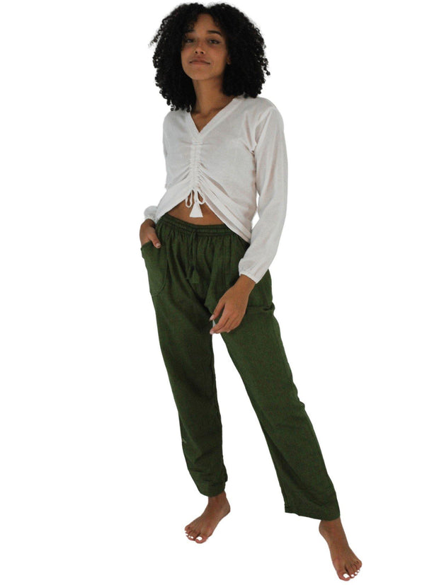 Pushaoo pants Unisex Dark Green Hemp Pants Hemp  Sustainable Clothes