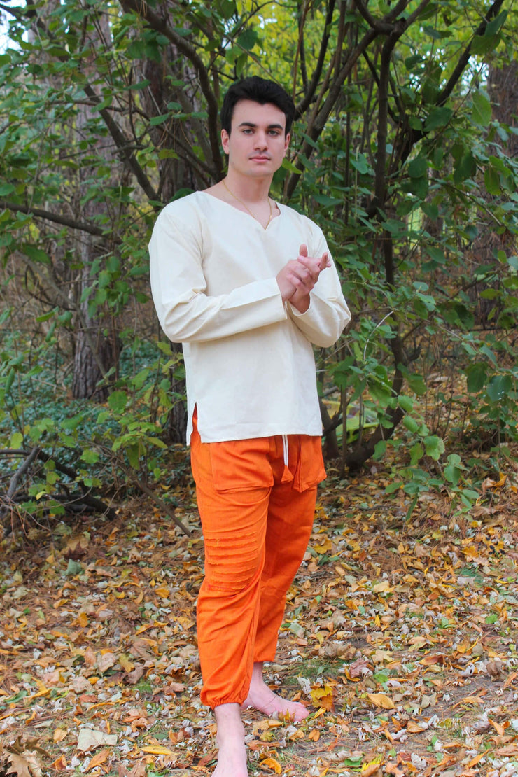 Pushaoo pants Unisex Orange Hemp Pants Hemp  Sustainable Clothes
