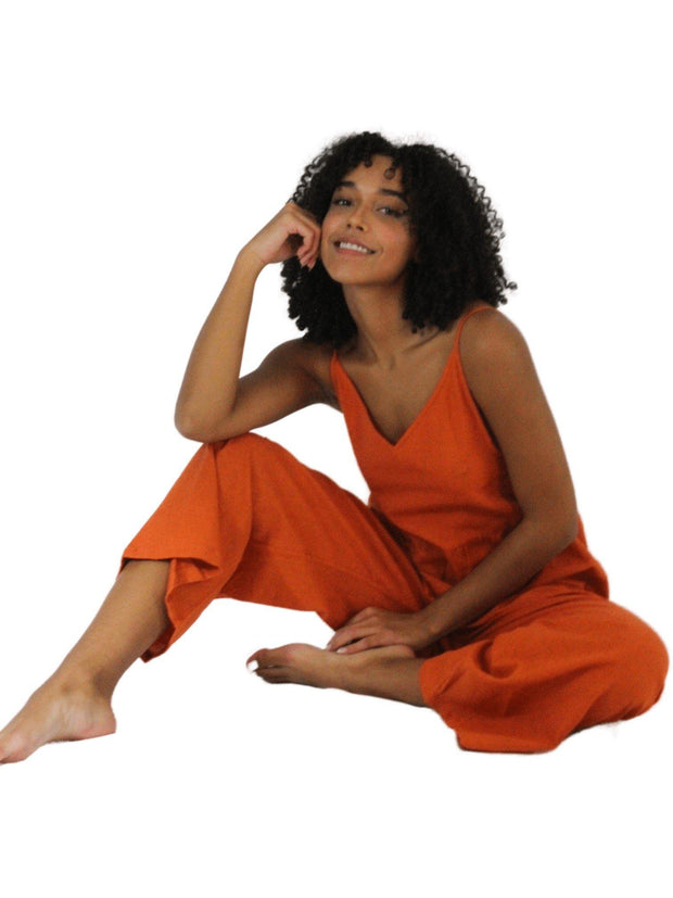 Pushaoo romper Orange Hemp Jumpsuit Hemp  Sustainable Clothes
