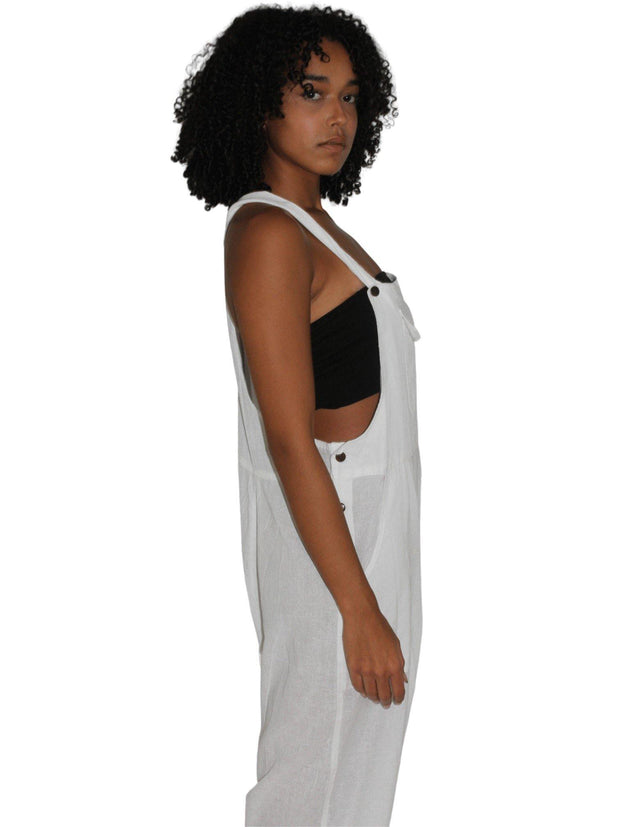 Pushaoo romper White Hemp Jumpsuit Hemp  Sustainable Clothes