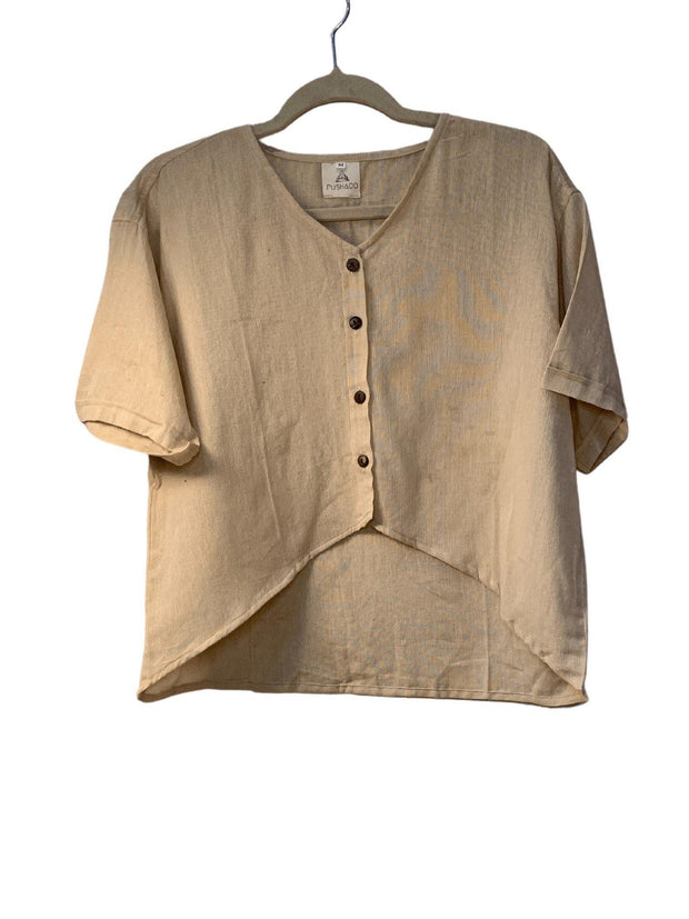 Pushaoo shirt Women Beige Hemp Shirt Hemp  Sustainable Clothes