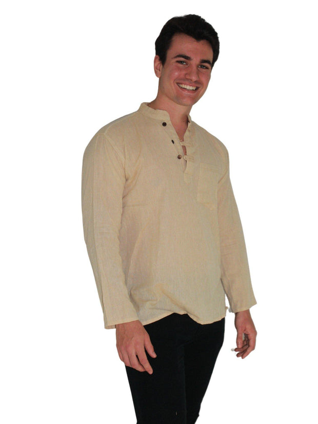Pushaoo top Unisex Beige Hemp Shirt Hemp  Sustainable Clothes