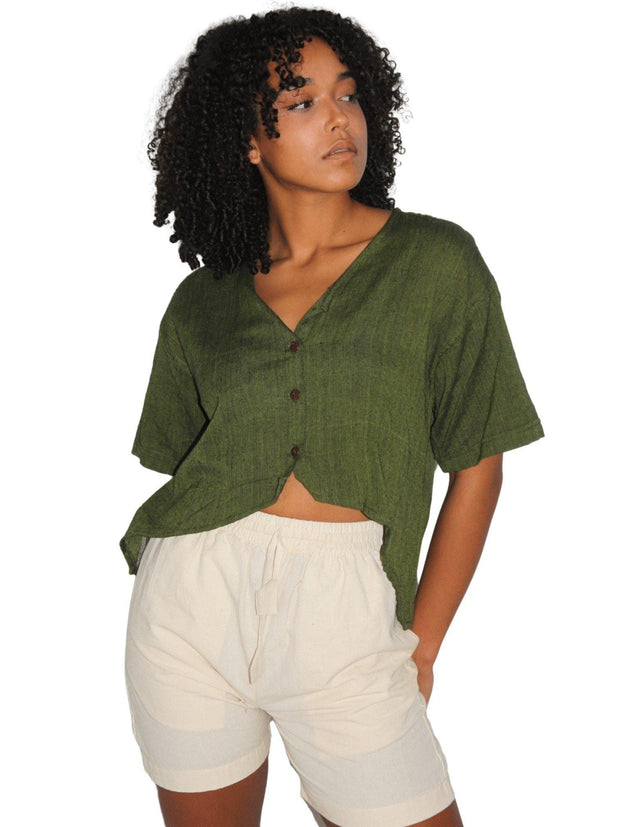 Pushaoo top Women Green Hemp Shirt Hemp  Sustainable Clothes