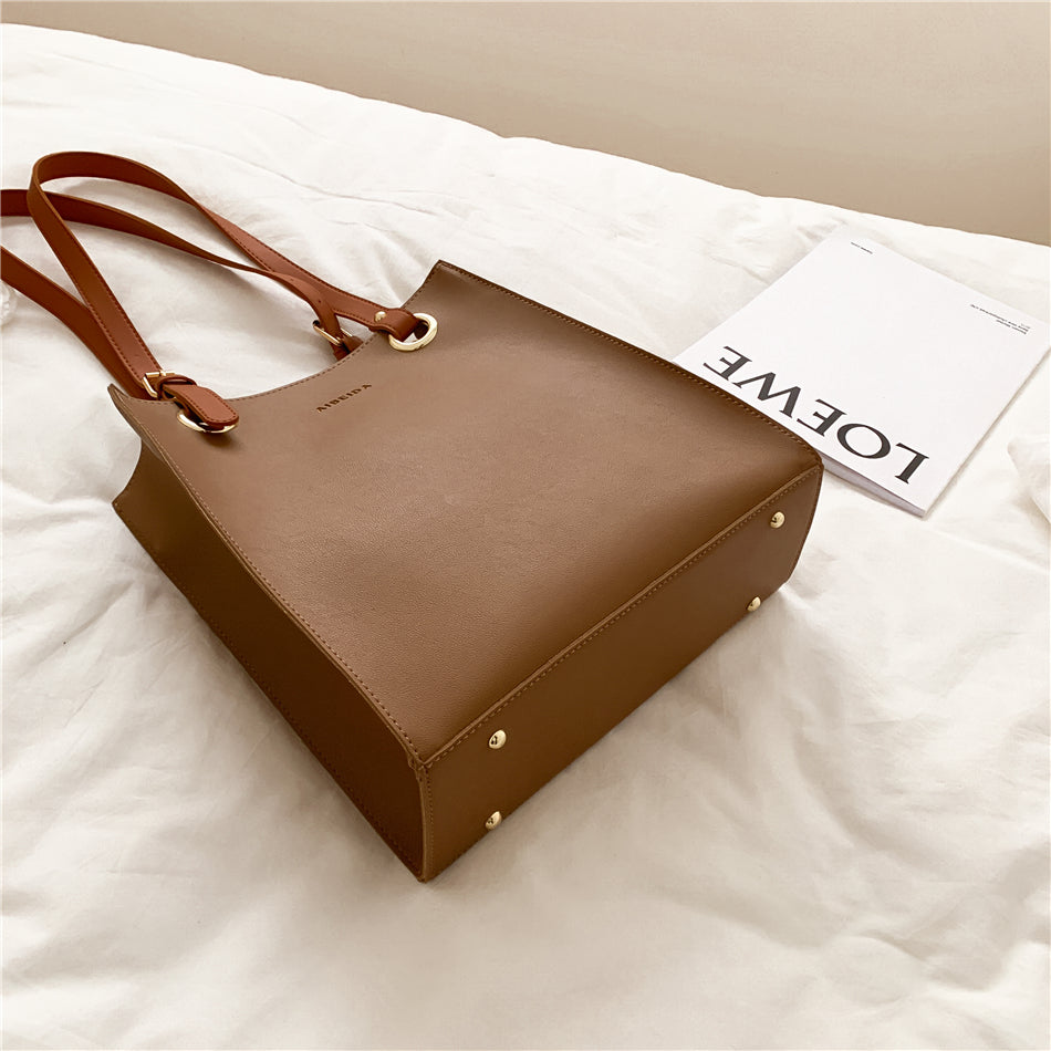 Leather Tote Bag with Zipper