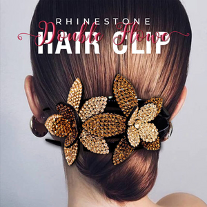 Strass Double Flower Haarspange
