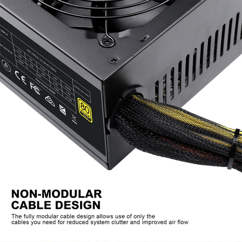 600W Non-Modular Power Supply, 80 Plus Gold Certified PSU with Silent 120mm Fan