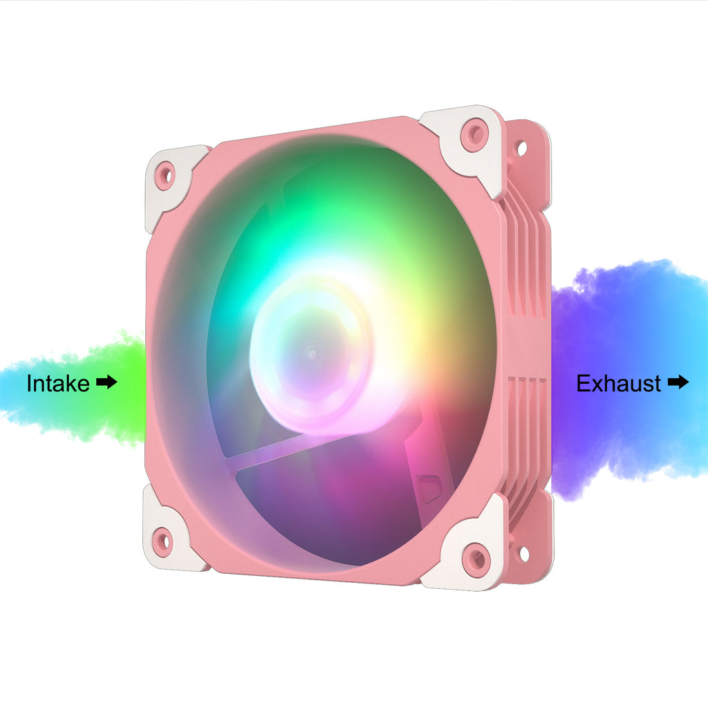 ARGB120 Pink ARGB 120mm Case Fan Kit Addressable RGB Sync with PWM Smart Control