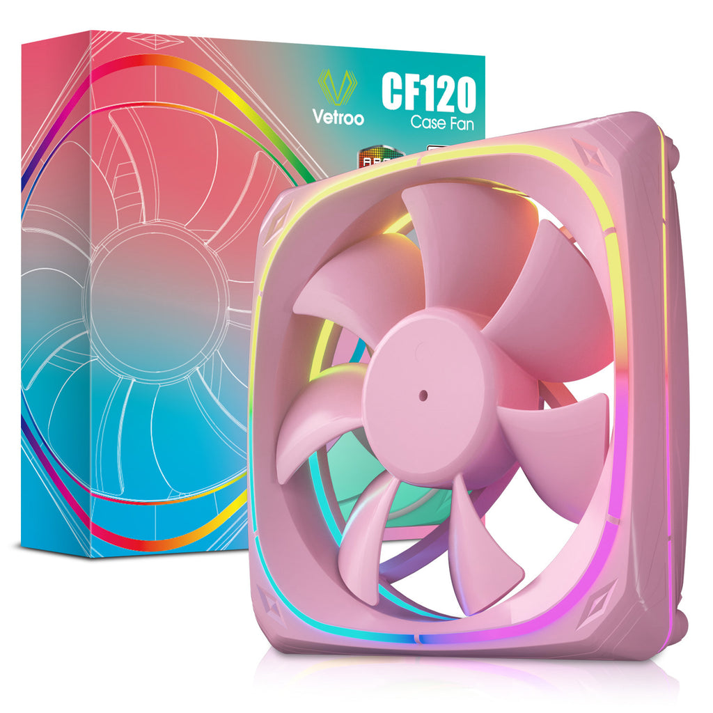 CF120 120mm Case Fan 5V 3PIN ARGB MB Sync PC Cooling Fan With Pink Frame