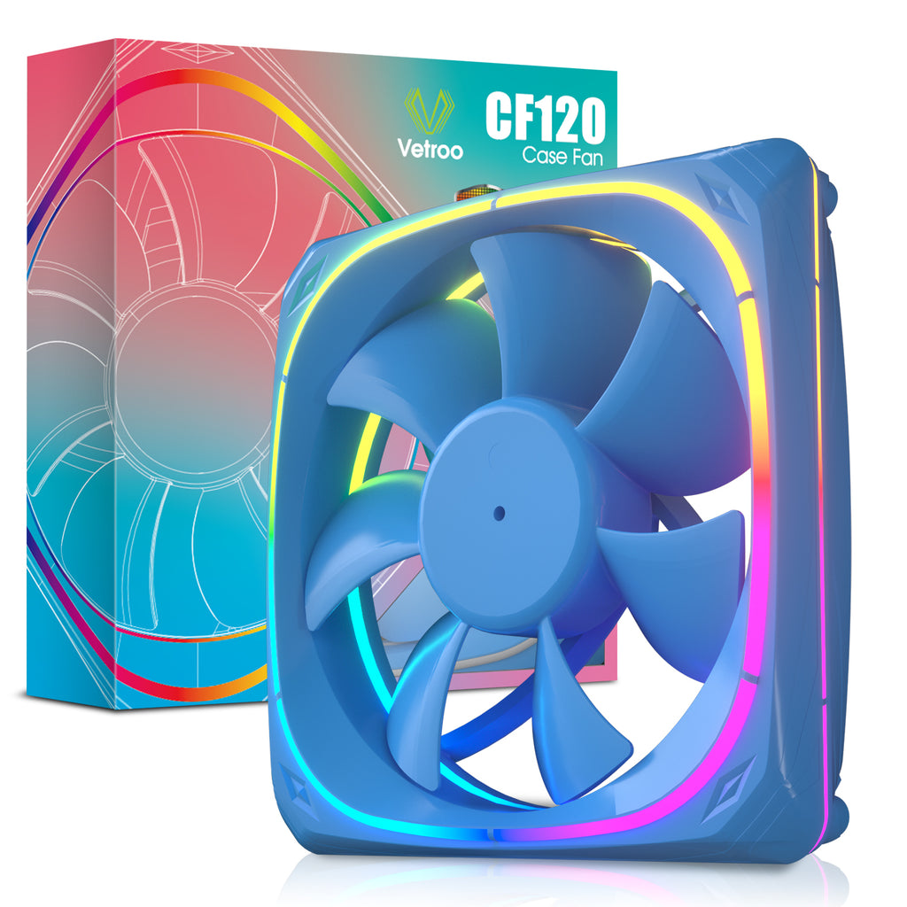 CF120 120mm Case Fan 5V 3PIN Addressable RGB MB Sync PC Cooling Fan With Blue Fan Frame