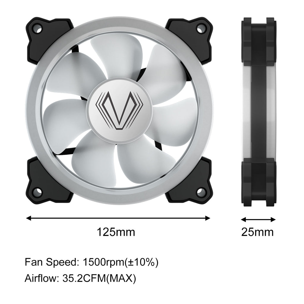 Vetroo White Dual Ring LED 120mm PC Computer Case Cooling Neon Quite Clear Fan Mod 4 Pin/3 Pin