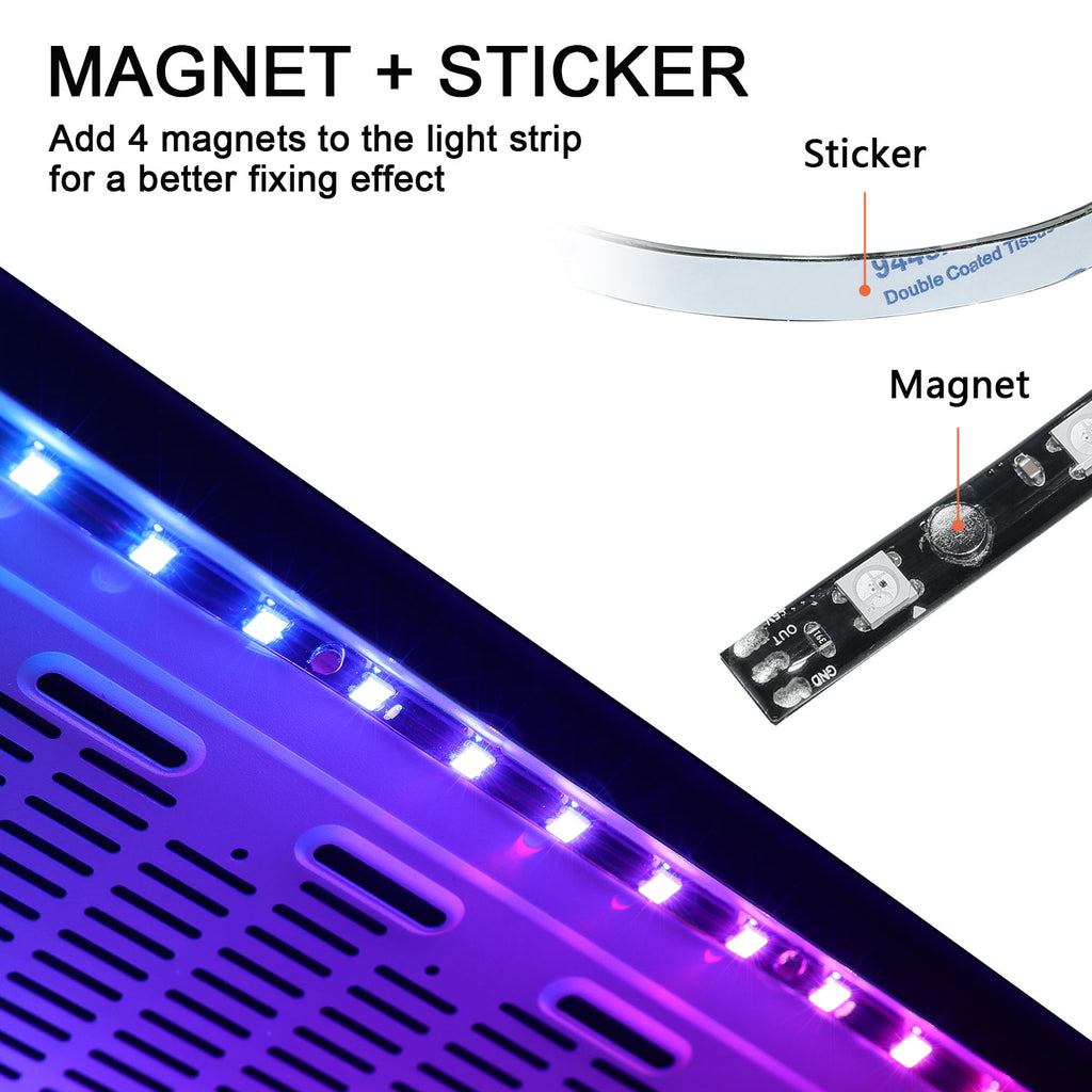LED Strip Light for PC Magnetic and Sticker Addressable RGB LED Strip with 5V 3pin ARGB headers