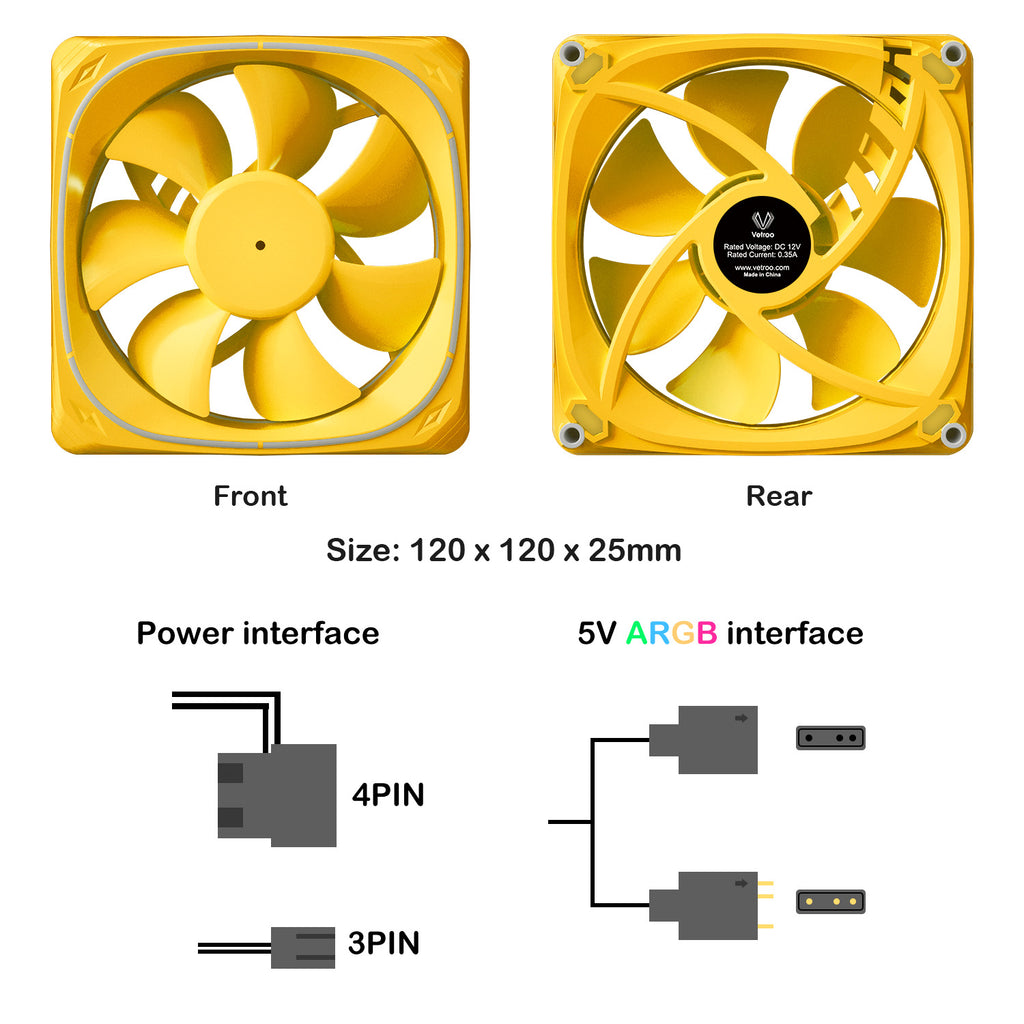 CF120 120mm Case Fan 5V 3PIN Addressable RGB MB Sync PC Cooling Fan With Yellow Fan Frame
