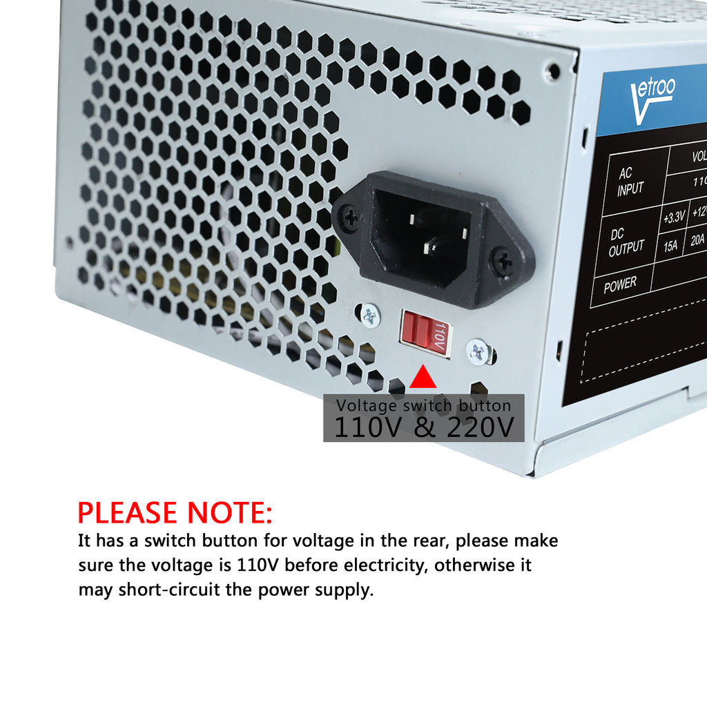 N380 PC Computer Desktop Power Supply PSU SATA 20/24pin with 120mm Ultra Quiet Cooling Fan