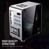 M3S ITX Mini Computer PC Case with Tempered Glass Side Windows Aluminium Silver