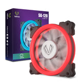 SG120 Red Dual Ring LED 120mm PC Computer Case Cooling Neon Quite Clear Fan Mod 4 Pin/3 Pin