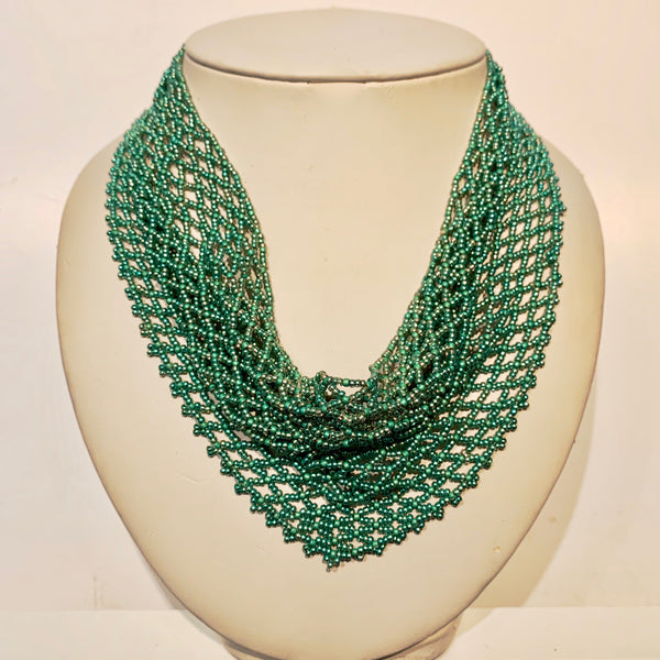 "Dauna Louise 'Beaded Kerchief Necklace' Light Turquoise Medium (18 1/2"")"