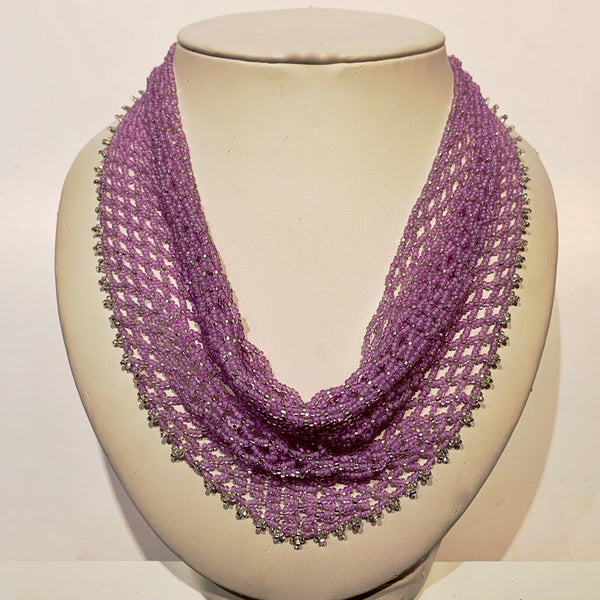 "Dauna Louise 'Beaded Kerchief Necklace' Lilac Medium (18 1/2"")"