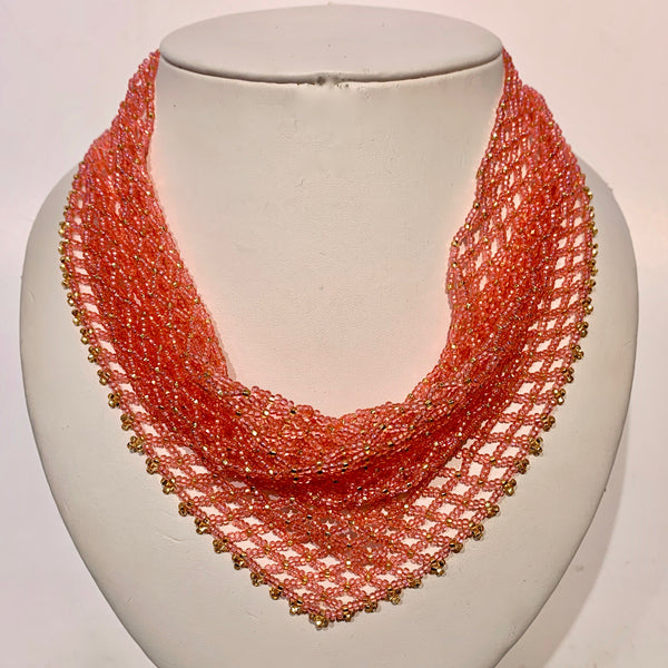 "Dauna Louise 'Beaded Kerchief Necklace' Pinky Coral Medium (18 1/4"")"