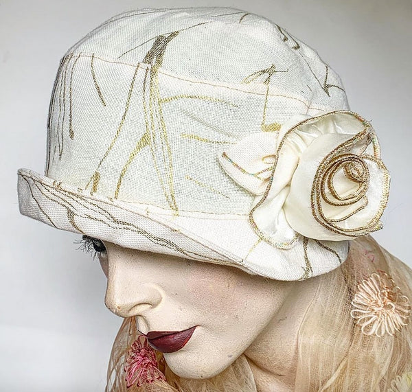 Fanreluche Cloche White Linen with Gold Accents