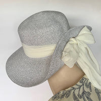 Eclection 'Atlantic City' Hat Metallic Silver White Crepe Bow