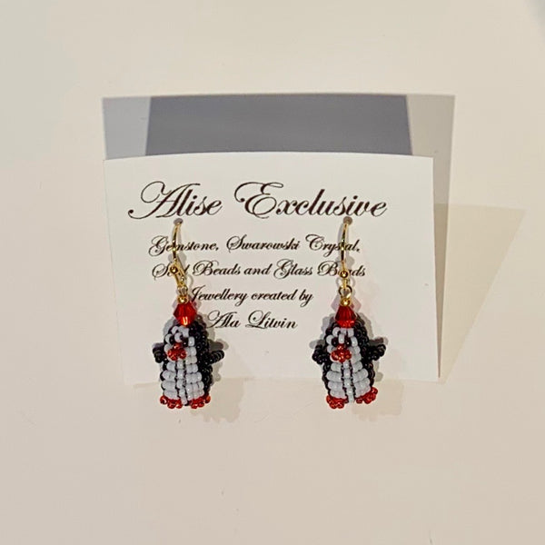 Alise Exclusive Earrings Tiny 3D Penguin Gold