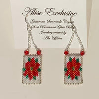 Alise Exclusive Red Poinsettia 'Needlepoint' Earrings