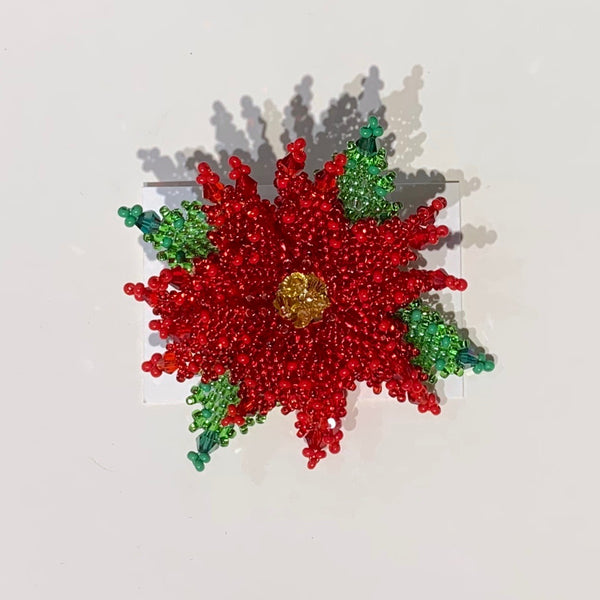 Alise Exclusive Red Poinsettia Pin Large