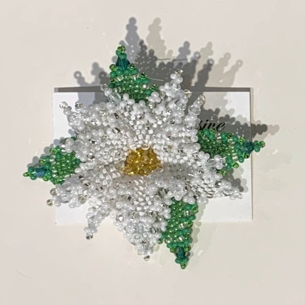 Alise Exclusive White Poinsettia Pin Large