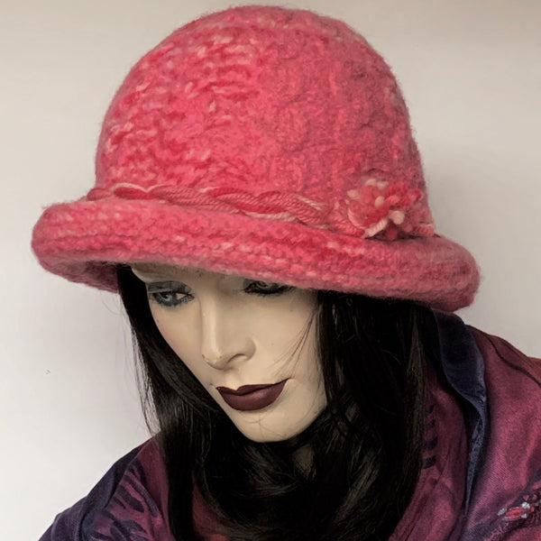 The British Hat Lady Cable Hat Pink Tweed Wool