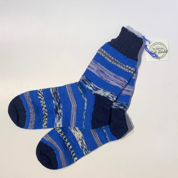 British Hat Lady Hand-Knit Men's Socks Blue Multicoloured