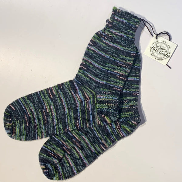 British Hat Lady Hand-Knit Men's Socks Charcoal, Green, Chambray, Multicoloured