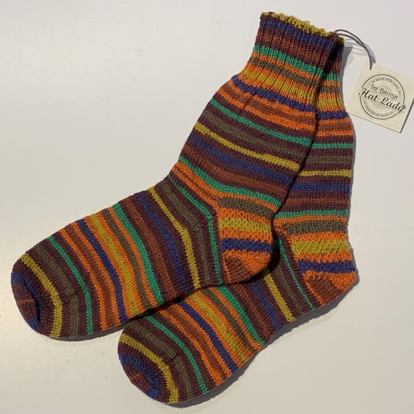 British Hat Lady Hand-Knit Men's Socks Fall Colour Multi-coloured