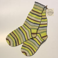 British Hat Lady Hand-Knit Men's Socks Green Yellow Grey Brown Multi-Coloured